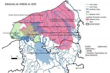 Périmètre des structures adhérant à l'AREAS en 2020